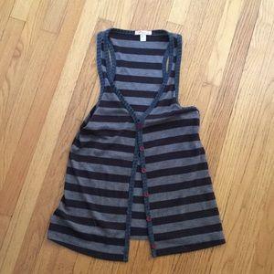 Brown Striped Sweater Button Down Vest